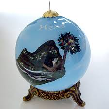 exclusive island globe ornament with lighthouse