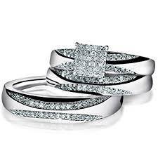 wedding rings pictures for men trio set white gold wedding ring men women real diamond 1 3ctw