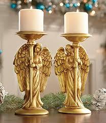 Angel Home Decor Amazon Com Set Of 2 Gold Guardian Nativity Angels Candle Holder