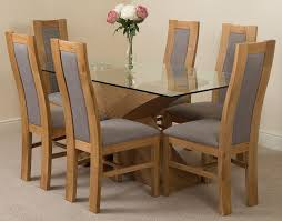 Light Oak Dining Chairs Valencia Oak 160cm Wood And Glass Dining Table With 6 Stanford