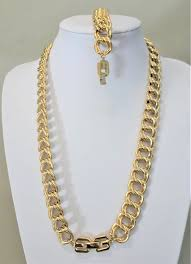 jewelry necklace bracelet images Givenchy gold double link chain necklace bracelet 80s jpg
