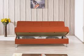furniture orange upholstered convertible sofa with storage and