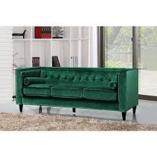 pillow button tufted green velvet sofa