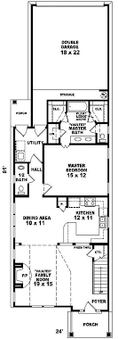 house plan for narrow lot fontana park narrow lot home plan 087d 0088 house plans and more