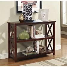 accent sofa table console sofa table 3 shelf accent display bookcase in espresso
