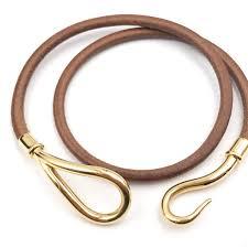 gold plated leather bracelet images Hermes hook 18k gold plated palladium leather bracelet choker jpg