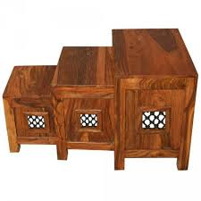 sheesham wood solid square table with brass fitted wooden nested stools jali set of 3 wooden stools living