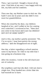 he kept ignoring his mother for years until one day he received