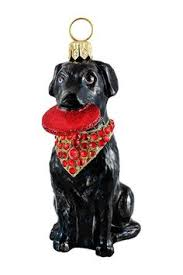 labrador retriever black european blown glass ornament by