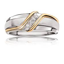 two tone wedding rings men s three diamond two tone wedding band