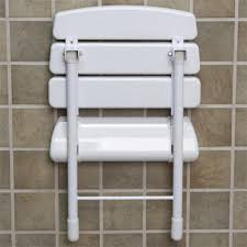 Foldable Shower Chair Wall Mount Folding Shower Seat With Legs White Bathroom
