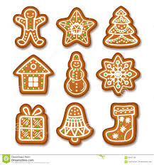 set of gingerbread christmas cookies decorated icing stock vector