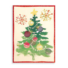 be merry u0026 bright christmas tree embellished cards galison