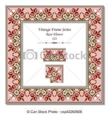 vector illustration of vintage 3d frame of pink red rose flower
