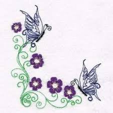 butterfly flower corner embroidery designs machine embroidery
