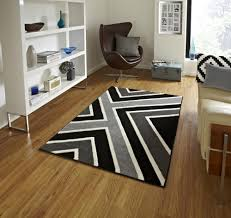Modern Rug Designs Geometric Design Black Grey Modern Think Rugs Matrix T004 New