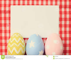 blank easter eggs colorful easter eggs and blank note paper stock image image 52090097