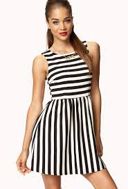 fit and flare dress forever 21 forever 21 striped fit flare dress in white lyst