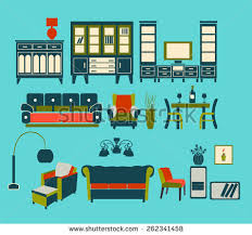 Home Interiors Collection by Set Apartment Interiors Furniture Icons Interior Stock Vector