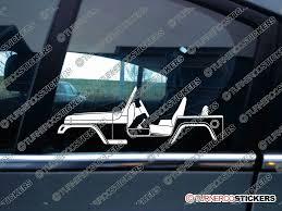 jeep windshield stickers 2x car silhouette sticker jeep wrangler tj offroad dirt vehicle