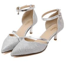 wedding shoes low heel silver fashion pointed toe pumps women silver stilettos heels shoes ankle