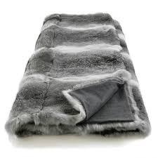 plaid gris canapé plaid en véritable fourrure lapin gris couverture en fourrure lapin