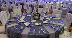 table and chair cover rentals royal blue and silver reception linen rental table linens