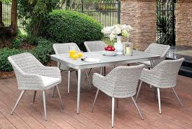 7pc Patio Dining Set 70 87 Plank Style 7pc Patio Dining Table Set In Silver Grey