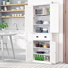 homcom 71 wood kitchen pantry storage cabinet furniture by aosom now shop up to 23 stylight