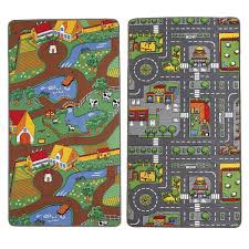 Kids Play Rugs With Roads by Childrens Reversible Roadmap Farmlife Playmat Rug Bedroom Playroom