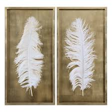 uttermost white feathers gold shadow box s 2 anne l pinterest