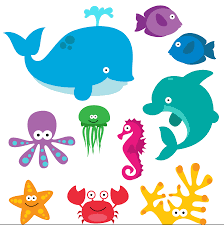 ocean animals clip art digital collage sheet clipart for cards