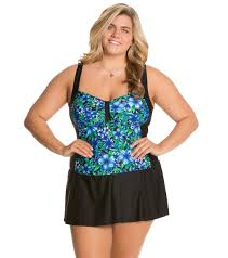 Delta Burke Delta Burke Plus Size Faux Skirtini One Piece Swimsuit At