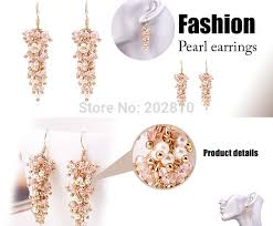 types of earrings for women 2017 new type trendy women pearl earring gold color pink