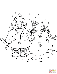kid with snowman coloring page free printable coloring pages