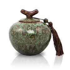 small urn moss green ceramic cremation urn small
