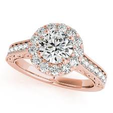 halo design rings images Rose gold engagement ring designer diamond halo vintage filigree shank jpg