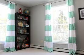 heart maine home white and aqua striped curtains diy