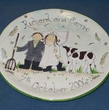 personalized ceramic wedding plates commissioned painted pottery gallery personalised gifts