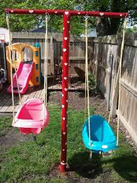 Small Backyard Swing Sets by Swing Set Made Out Of Clothesline Poles Yard Decor Pinterest