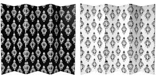 Canvas Room Divider 6 U0027 Tall Double Sided Black And White Damask Canvas Room Divider 6