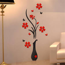 compare prices on wall flower stickers 3d online shopping buy low diy vase flower tree crystal arcylic 3d wall stickers decal home decor wonderful china