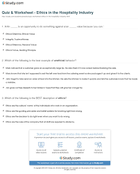 quiz u0026 worksheet ethics in the hospitality industry study com