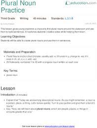 plural noun practice lesson plan education com
