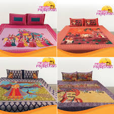 3d Print Bed Sheets Online India Rangilo Rajasthan 100 Cotton Printed Double Bedsheet Set Pack Of 4