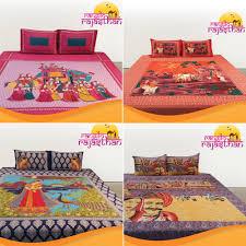rangilo rajasthan 100 cotton printed double bedsheet set pack of 4