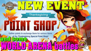summoners war special thanksgiving point shop event and world