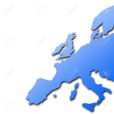 Empty Map Of Europe by Distorted Outline Map Of Europe On White Background Stock Photo