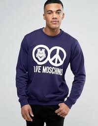 love moschino sweatshirt with logo print navy men moschino bags