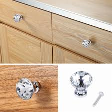 cabinet door knobs glass 30mm 10pcs diamond sharp crystal glass pull cabinet drawer